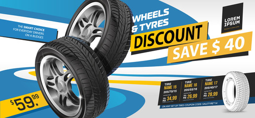 Tire car advertisement discount. Black rubber tire. Realistic vector shining disk car wheel tyre. Information. Store. Action.Landscape poster, digital banner, flyer, booklet, brochure and web design. Fototapete