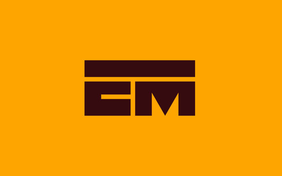 EM or ME and E, M Uppercase Letter Initial Logo Design, Vector Template