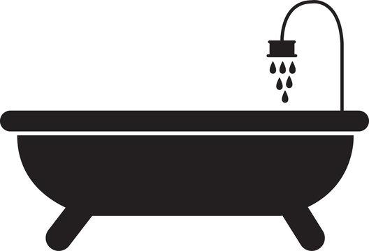 Bathtub shower black icon linear style sign