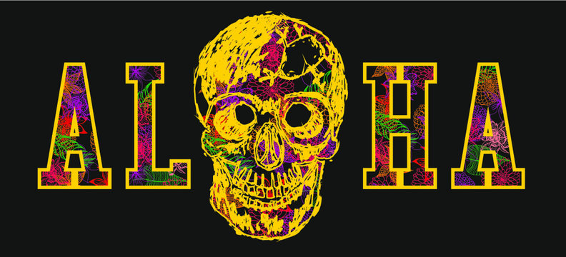 Aloha and skull tshirt print and embroidery graphic design vector art