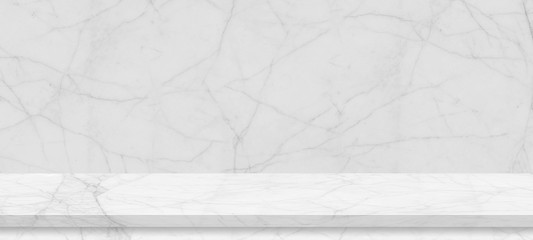 Empty top of white mable stone shelf table , for interior and website web page or product display montage, studio room background