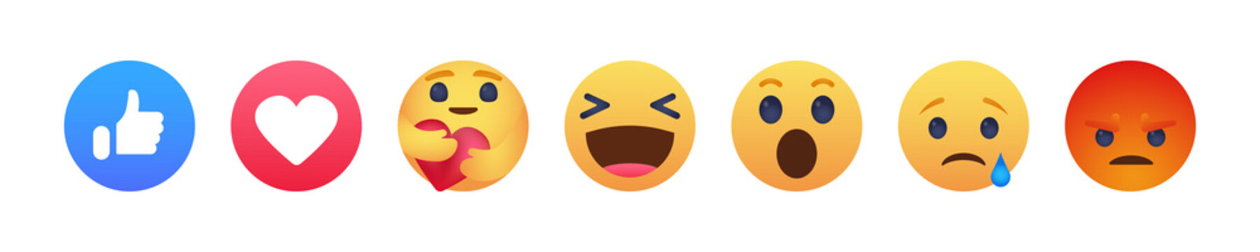 Facebook emoticon buttons. Collection of Emoji Reactions for Social Network. Kyiv, Ukraine - April 18, 2020