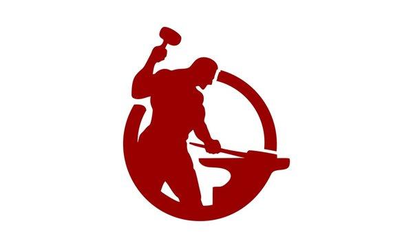 logo design with icon blacksmith