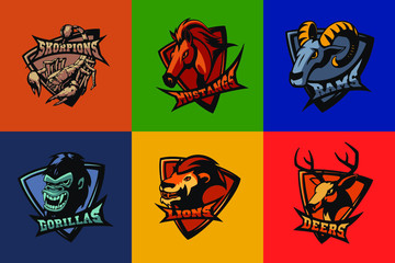 Hand drawn sport team mascot logo design. T-shirt print illustration. Scorpion, mustang, ram, gorilla, lion, deer.