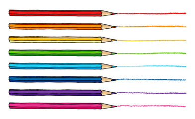 Colored pencils with strokes illustration