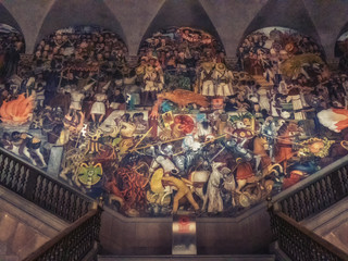Entrance to the national palace with the history of Mexico, Diego Rivera fresco mural, Mexico City.