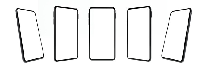 Realistic mock-up smart phone empty screen 3D rendering isolated on white background 6 positions. clipping path Fotobehang