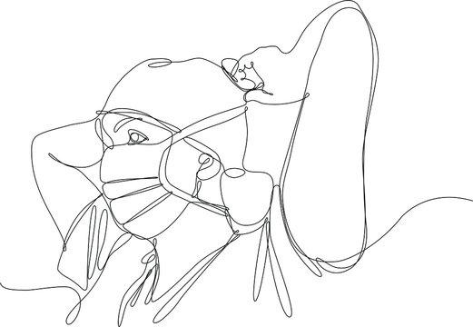 infermiera si allaccia la mascherina, disegno stile linea singola continua