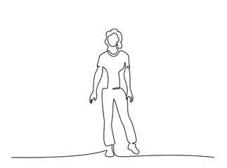 One continuous line drawing. Standing woman vector