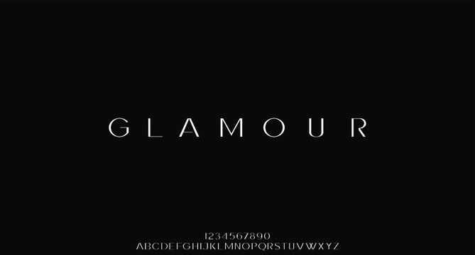 glamour luxury font alphabet vector set