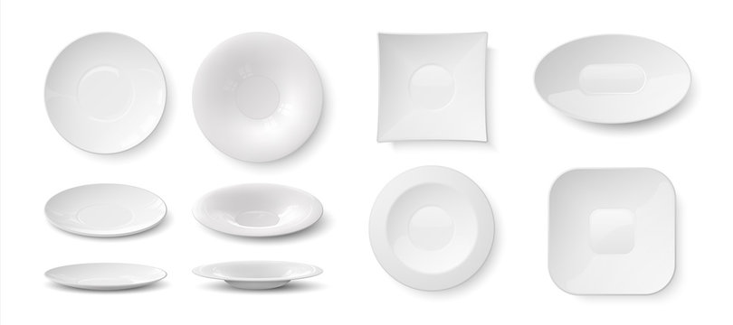 Realistic plates. White empty 3D dishes and bowls mockup, kitchen dining ceramic round tableware for food. Vector illustration isolated blank crockery set on transparent background