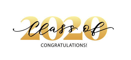 Class of 2020. Congratulations. Lettering Graduation logo. Modern calligraphy. Vector illustration. Template for graduation design, party, high school or college graduate, yearbook.
