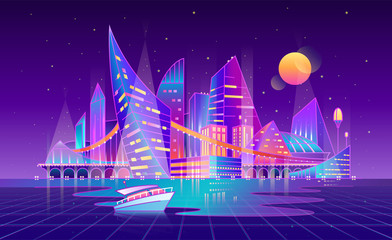 Future cyberpunk landscape - vector background. Cyber punk neon, linear style. Isolated modern city in night, glowing buildings. Creative concept of utopia or dystopia, digital technology, VR