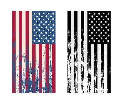 USA Flag Vertical Layout Retro Grunge Vintage Style Vector Illustration