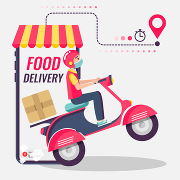 Online delivery service , online order tracking, delivery home and office. Scooter delivery. Shipping. Man on the bike with mask. Vector illustration