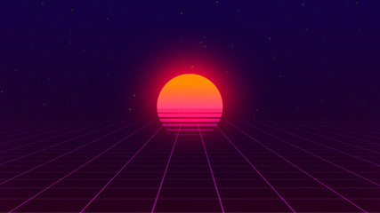 Retro background. 80s style. Futuristic retro horizon landscape with sun and neon light grid. 3D-rendering.