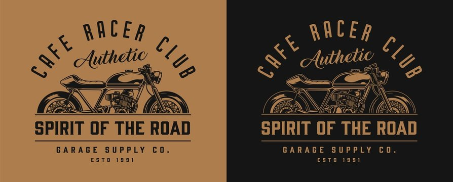 Cafe racer motorcycle monochrome label