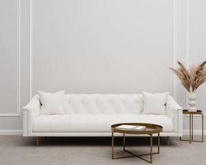 Fototapeta White Tufted Sofa Couch Mid-Century Modern Living Room Blank Empty Wall Copy Space obraz