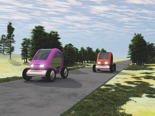 Two autonomous electric vehicles on a road