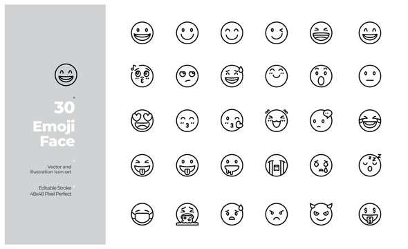 Vector Line Icons Set of Emoji and Emotion Icon. Editable Stroke. Design for Website, Mobile App and Printable Material. Easy to Edit & Customize.