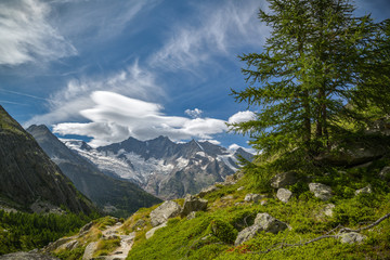 Wall Mural - Beautiful view on majestic Dom peak above the Saas-Fee village