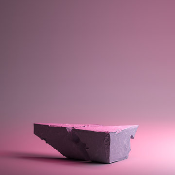 Modern Showcase Made From Stone or Concrete On Neon Pink and Violet Background. Copy Space. 3d rendering