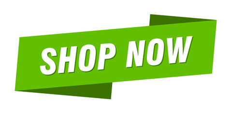 shop now banner template. shop now ribbon label sign