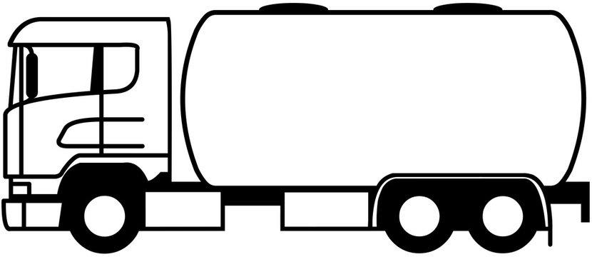 Truck Fuel Tanker - short tank truck - shape - icon - silhouette -oil truck - gas truck - profile - monochrome - 6x2