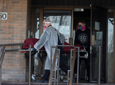 A body is removed from a seniors' long-term care centre in Montreal