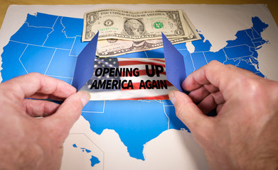 Hands opening a window on the United States map symbolizing the White House's plan for Opening Up America Again amid the coronavirus pandemic and the lockdown end. Wall mural
