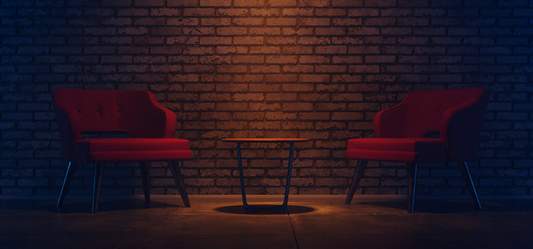 Empty Modern Brick Wall Interior Modern Two Chairs And Empty Table On Concrete Floor Orange Spotlight Blue Glowing Minimalist Background 3D Rendering