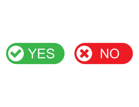 Yes and no buttons in green and red colors. Flat design of correct or incorrect vote question. Wrong or right answer. Vector EPS 10