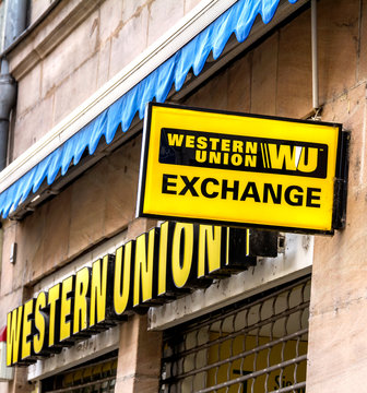 Furth, Germany : Logo of Western Union. The Western Union Company is an American financial services and communications company