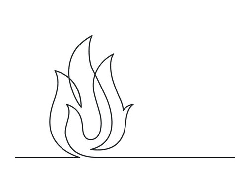 Continuous line drawing of fire on white background. Vector illustration