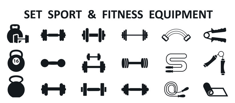 Set of isolated sport and fitness equipment icons – stock vector