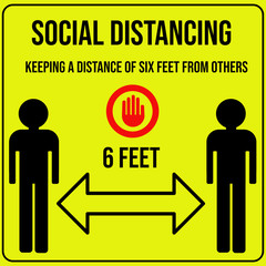 Social distancing poster keeping a distance of six feet from others one of the most effective ways to reduce the spread covid-19 coronavirus