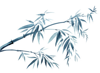 Bamboo tilted by the wind, watercolor illustration in oriental, chinese, japanese style on a white background, a symbol of endurance, longevity, happiness.