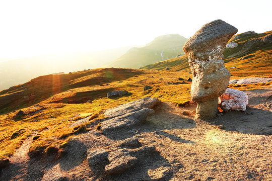 Rock Formations On Mountain At Bucegi Natural Park
