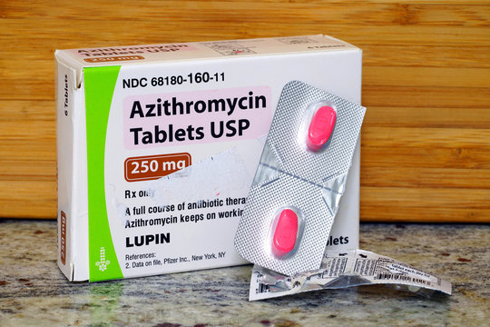 WEST WINDSOR, NJ -11 APR 2020- A pack of Azithromycin antibiotics tablets. This medication has been used in the treatment of COVID-19.