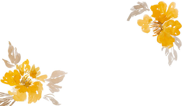 Beautiful yellow watercolor flowers with blank white copy space