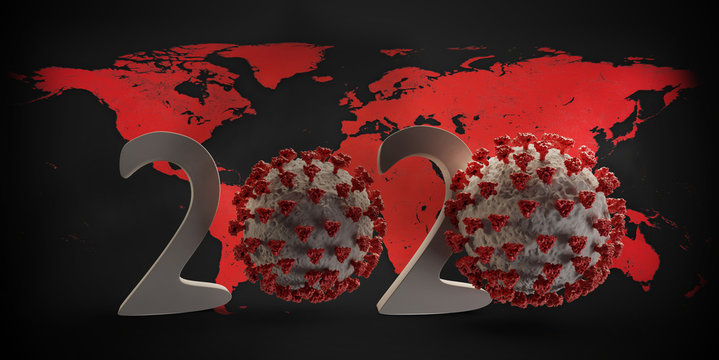 year 2020 Coronavirus COVID19 virus concept 3d-illustration background. elements of this image furnished by NASA