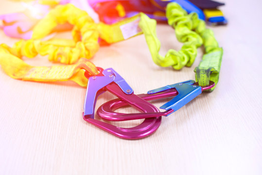 Shock hazard protection with straps and straps for safe working at height, Closeup fall protection Hook harness and soft light