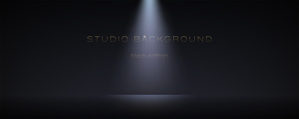 Black empty room with one spotlight. Dark studio can used for background and display brand or product. Black edition. Vector 3d illustration