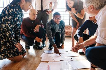 Diverse creative business team planning