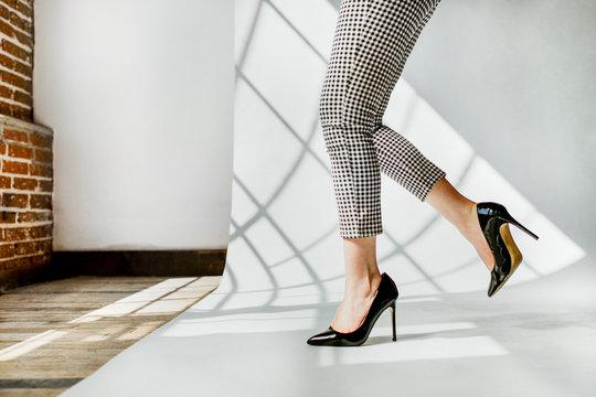 Black patent leather heels