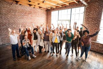Obraz Group of people celebrating success - fototapety do salonu