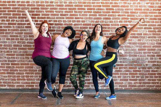 Diverse womens fitness class