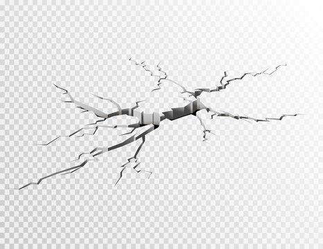 Cracked concrete ground. Vector illustration.