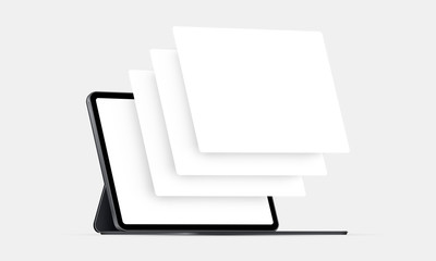 Tablet computer mockup with blank wireframing pages. Concept for showcasing web-design projects. Vector illustration Fotobehang
