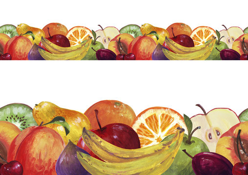 Seamless border with fruits. Apple, figs, peach, cherries, pear, strawberry, raspberry. Design for duct tape, adhesive tape, wallpaper, textile, dyeing.